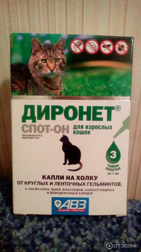 диронет спот-он для кошек инструкция от глистов