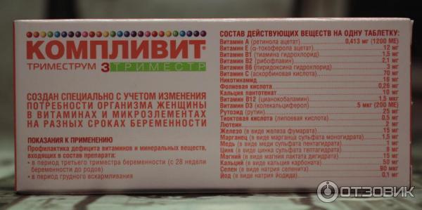 Компливит для беременных состав витаминов 72